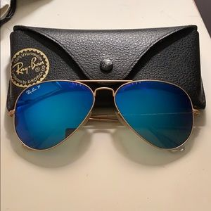 RAYBAN aviators blue with case